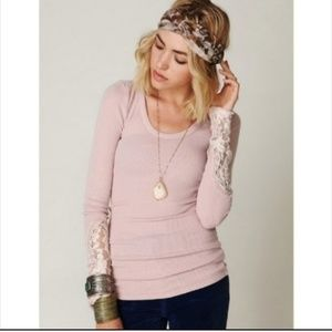 Free People Thermal Crafty Cuff Lace Slv Pink Top